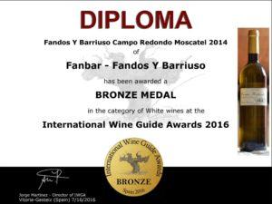 Vino Blanco Moscatel medalla de bronce