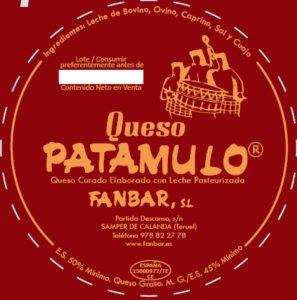 etiqueta del queso patamulo