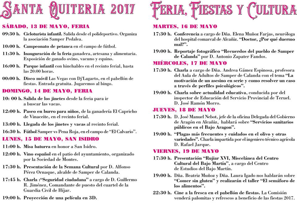 Programa de fiestas de Santa Quiteria